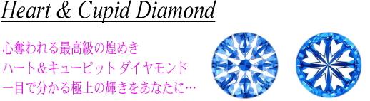 ハート&キューピットダイヤモンド(H&C)。ハート&アローダイヤとも呼ばれるカットの優れたダイヤモンド。心奪われる最上級の煌めき。一目で分かる極上の輝きをネット限定特価でご奉仕!